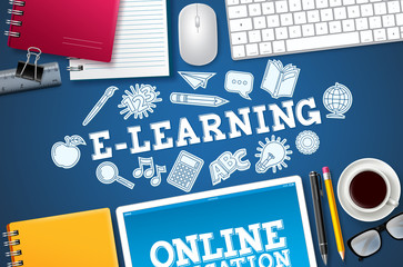 E-learning online school vector banner. E-learning text with computer elements and school items in blue background for home distance digital school. Vector illustration.