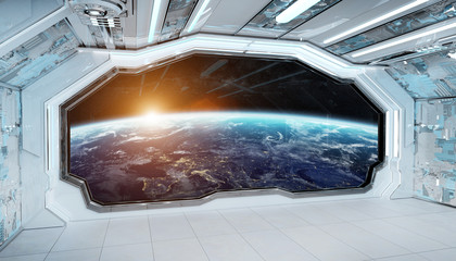 Wall Mural - White blue spaceship futuristic interior with window view on planet Earth 3d rendering