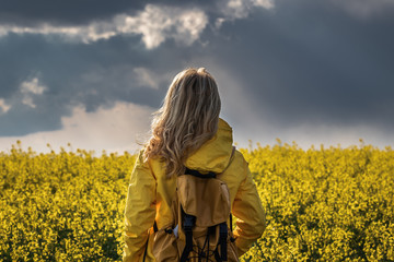 Storm and rain is coming. Hiking woman standing in rapeseed field and looking at cloudy sky....