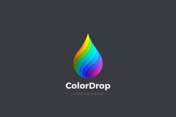 Wall Mural - Colorful Liquid Water Droplet Drop Logo design vector template. Energy Mix Drink Logotype concept icon.