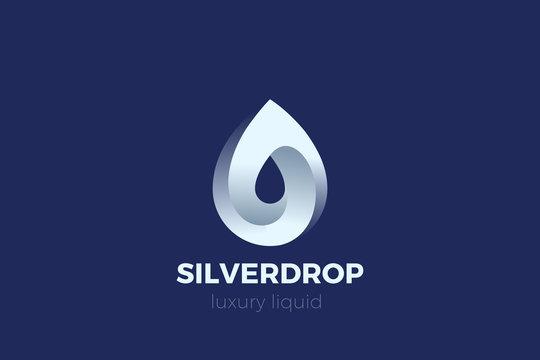 Elegant Droplet Logo Steel Metal Silver design vector template. Drop Logotype concept icon