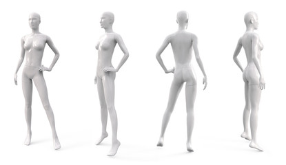 White plastic female mannequin for clothes. Set from the side, front and back view. Commercial equipment for shop windows. 3d illustration isolated on a white background.