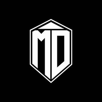 md logo monogram with emblem shape combination tringle on top design template