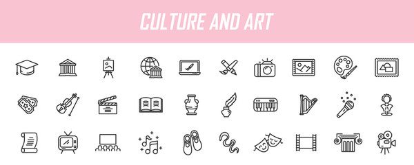 Set of linear culture icons. Art icons in simple design. Vector illustration - fototapety na wymiar