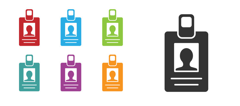 Black Identification badge icon isolated on white background. It can be used for presentation, identity of the company, advertising. Set icons colorful. Vector Illustration