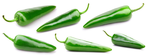 Fotobehang Hot chili peppers Fresh pepper chili vegetable. Сhili isolated on white background. Collection сhili with clipping path.