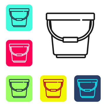 Black line Bucket icon isolated on white background. Set icons in color square buttons. Vector Illustration