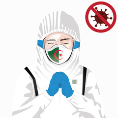 Covid-19 or Coronavirus concept. Algerian medical staff wearing mask in protective clothing and praying for against Covid-19 virus outbreak in Algeria. Algerian man and Algeria flag. Pandemic virus