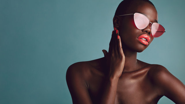 African female model with trendy sunglasses