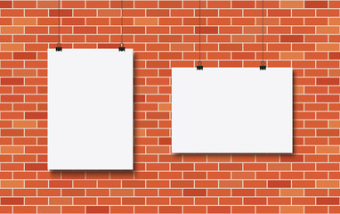 Wall Mural - Blank posters on a red brick wall