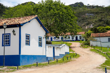 Buildings of the abandonend village Biribiri, Biribiri State Park, Minas Gerais, Brazil