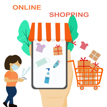 Situation of coronavirus people avoid to go outside home so they change lifestyle to online shopping for buying things and mask and surgical hands gel.New normal for shopping.vector illustration