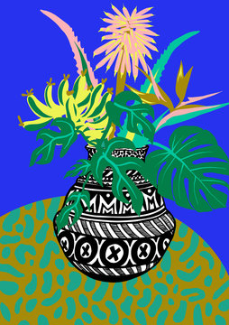 Flowervase with plants on Table