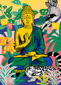 Buddha sculpture with animals and jungle