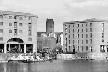 Wall Mural - Liverpool city - Albert Dock. Black and white retro style.