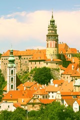 Wall Mural - Czech Republic - Cesky Krumlov. Retro color filtered style.