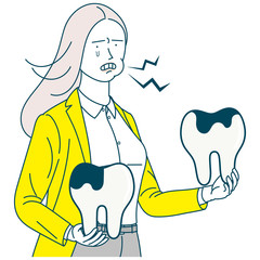 Woman with tooth decay _ toothache