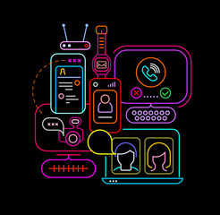 Neon colors isolated on a black background Online Chatting vector design. Electronic devices, computer, laptop, smartphone and wi-fi router.