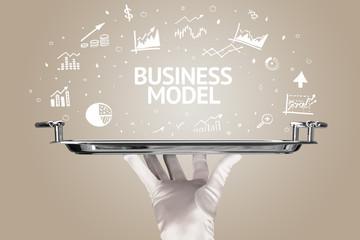 Waiter serving business idea concept with BUSINESS MODEL inscription