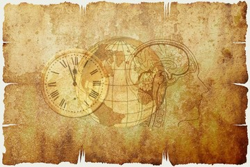 Poster Watercolor Skull Beautiful illustration with the pictures of a clock, the globe, and human skull