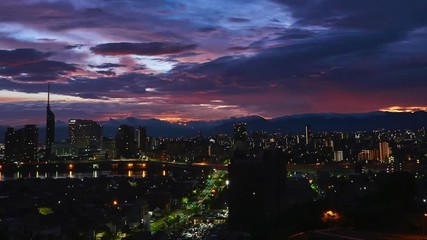 Fotomurales - 都市風景 福岡市 タイムラプス