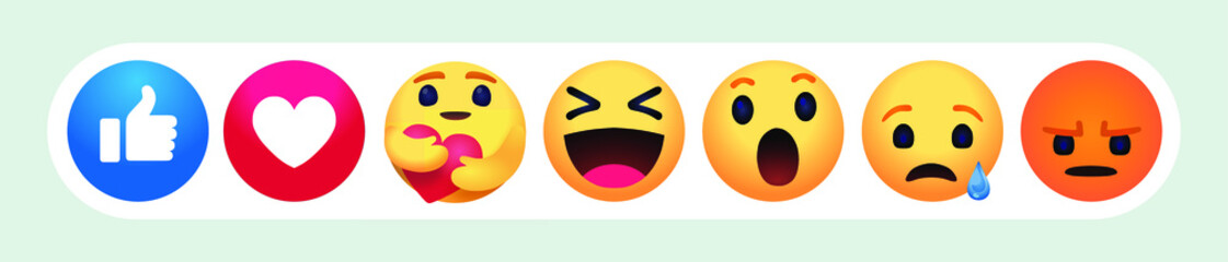 new care emoji  high quality Facebook chat comment reactions Fotobehang