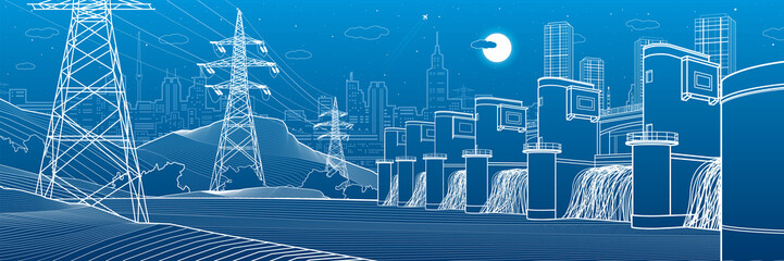 Hydro power plant. River Dam. Energy station. Power lines. People at shore. City infrastructure industrial panorama. Urban life. White outline on blue background. Vector design art