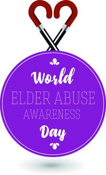World Elder Abuse Awareness day celebration card vector design illustration.