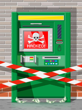 Hacked atm concept, skimming, stealling money from automated teller machine. Out of service or robbery, criminal hacks software in bank. Spyware malware. Computer security. Flat vector illustration