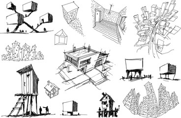 many hand drawn architectectural sketches of a modern abstract architecture and detached houses and urban ideas or towns