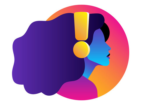 A young girl is listening to music or a podcast in headphones. Colored silhouette side view. Logo, emblem or design element.