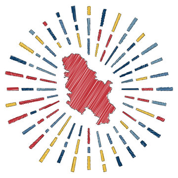 Sketch map of Serbia. Sunburst around the country in flag colors. Hand drawn Serbia shape with sun rays on white background. Vector illustration.