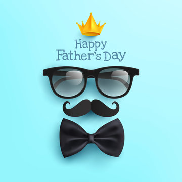 Happy Father's Day poster with Glasses,Mustache Paper and Bow tie on blue.Greetings and presents for Father's Day in flat lay styling.Promotion and shopping template for love dad concept