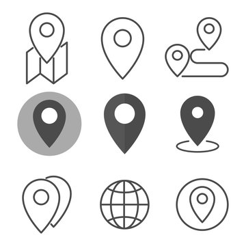 Location icon set. Flat style. Isolated on white background.