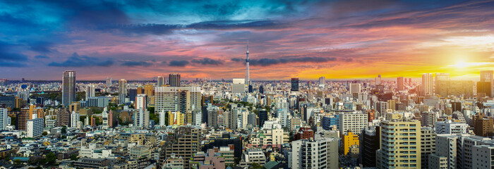 Fototapete - Panorama of cityscape at sunset in Tokyo, Japan.