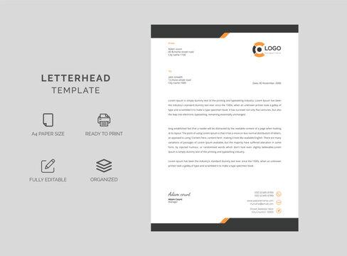 Professional letterhead vector template. Print ready design.