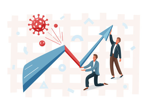 Business graph representing the stock market crash caused by the coronavirus. Overcoming the crisis with the help of businessman. Vector illustration of global finance economy after pandemic