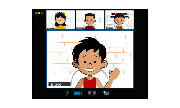 Kids on video-chat for online classes