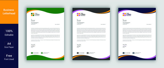 Professional Letterhead Template in flat style, letterhead set or bundle. Letterhead Template Graphics, Designs & Templates