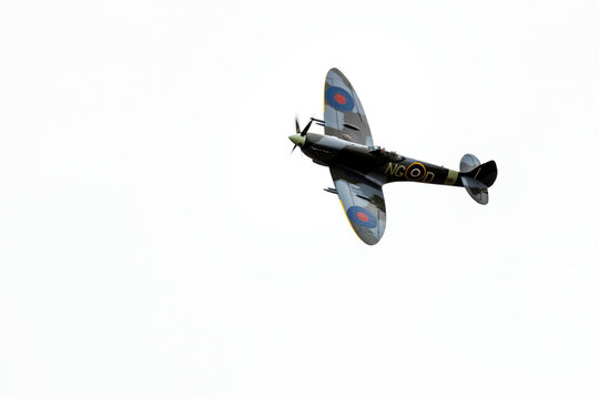 Oslo, Norway - 03.08.2020: Closeup of Spitfire propeller ww2 fighter plane in mid air during airshow.