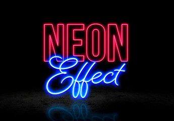 Pink and Blue Neon Effect