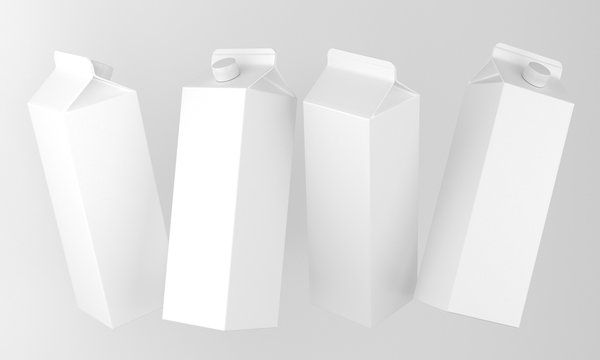 4 blank packages in different positions. 3d-image
