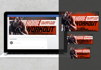Fitness Home Workout Social Media Banner Layout Set
