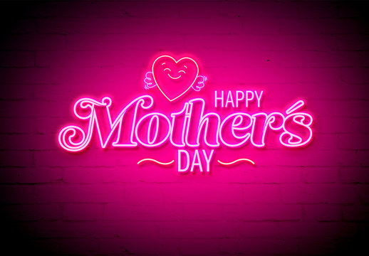 Mother's Day Neon Style Text Effect