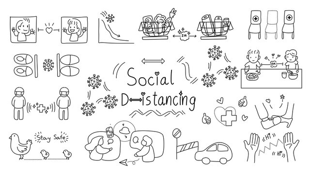 hand draw doodle line art icon set .strategy for life saving and stop virus transmission,  Life in the time of Corona concept vector. social distancing  and lockdown theme