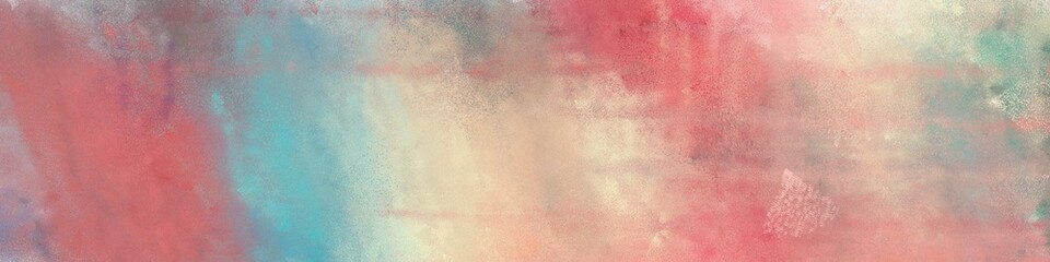 wide art grunge abstract painting background texture with rosy brown, pastel gray and cadet blue colors and space for text or image. can be used as postcard or poster