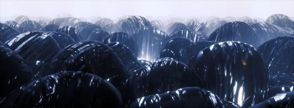 3d render of Sci Fi Abstract Background featuring army of futuristic spheres on blue alien planet, panoramic close up