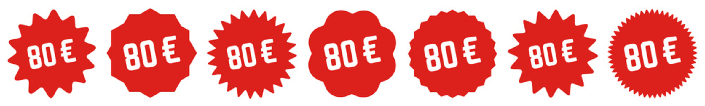 80 Price Tag Red | 80 Euro | Special Offer Icon | Sale Sticker | Deal Label | Variations