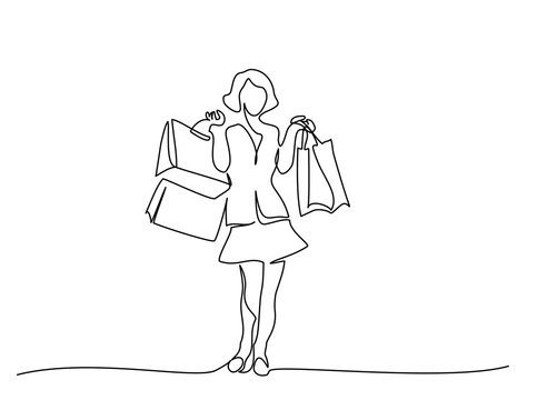 Happy young woman with shopping bags one line drawing