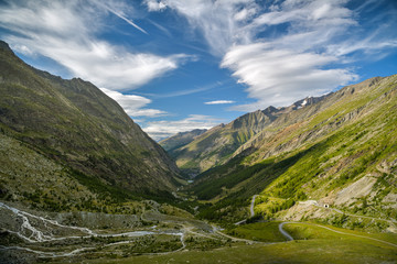 Wall Mural - View on Saas Valley close to Saas-Fee village in southern part of Swiss Alps
